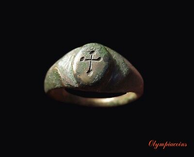 ** EXCELLENT ** Ancient Byzantine Bronze  ring  ** CROSS  **