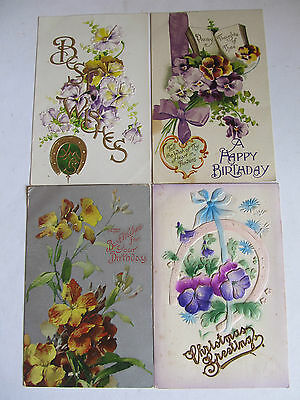 Four Lovely Antique postcards, PANSY Flowers, used Birthday/Xmas Greetings