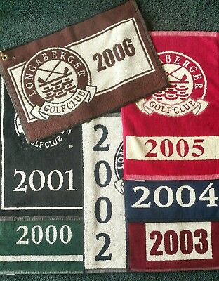 LONGABERGER golf towels - SEVEN years - 2000, 01, 02, 03, 04, 05, 06 - MINT RARE