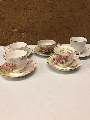 Vintage Tea Cup And Saucer Lot Of 5 All Different Teaparts Weddings