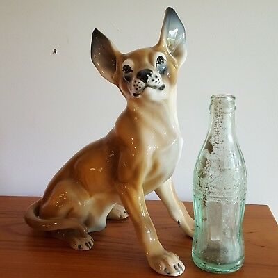 """Porcelain Chihuahua Dog Figurine RONZAN 11.75"""" Tall Italy Vintage Life Size Cute"""