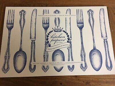 Kitchen Papers by Hester & Cook Vintage Blue Cutlery Disposable Placemats NEW