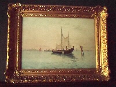 F. J Seguino, signed Watercolor with Gumps gold gilt frame, great condition