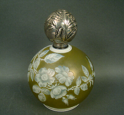 Thomas Webb Large Cameo Cologne/ Perfume Bottle Fuchsia Design Sterling Lid