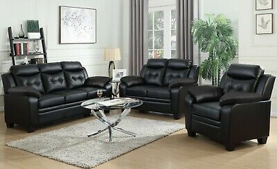 MODERN CASUAL 3-PIECE Sofa Loveseat Chair Living Room Set Black Faux Leather