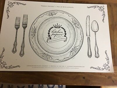 Kitchen Papers by Hester & Cook Perfect Setting Disposable Placemats NEW