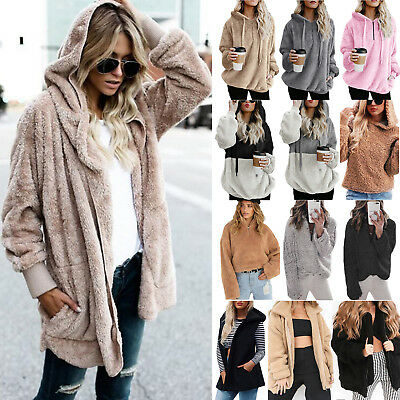 Women's Faux Fur Teddy Bear Fleece Coat Lady Winter Jacket Hoodie Hooded Outwear