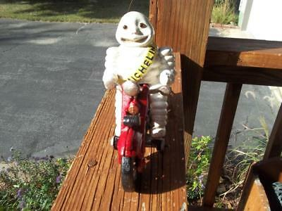 Cast Iron Harley Davidson Motorcycle Pull Toy Michelin Man With Glass Eyes Rider