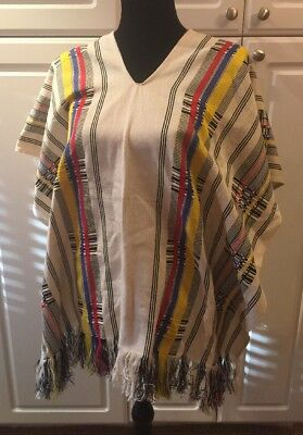 MEXICAN Western Poncho Red Blue Yellow Ivory Fringed Striped