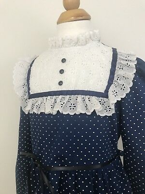 Vtg Eyelet Lace Ruffle Dress Bib Button Collar Navy White Dots Vintage 1960 1970