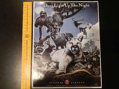 """Smokey Vintage """"Don't Light Up The Night"""" Forest Fire Prevention Poster 8.5-11"""""""