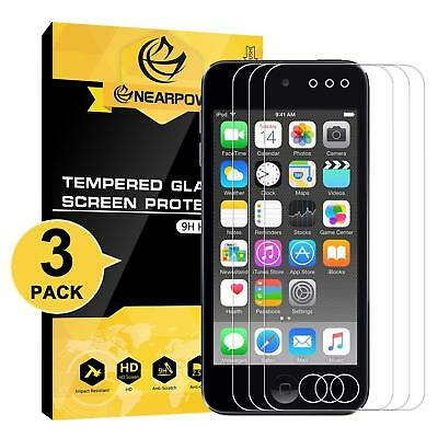 NEARPOW [3 Pack] Tempered Glass Screen Protector Film for iPod Touch 5/6th Gen