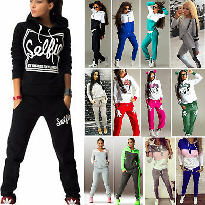 2Pcs Women Tracksuit Hoodies Sweatshirt Pants Gym Sport Wear Casual Suit Sweats