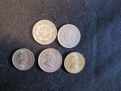 Lot of 5 Uruguay Coins - 2x 1901 1 Centesimo, 1953 2 Centesimos, 1953 1, 1960 2