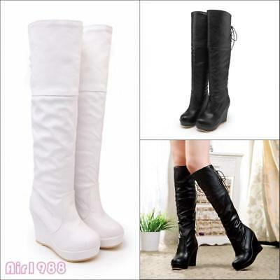 New Womens Knee High Boots Lace Up Pu Wedge Heel Platform Boots Shoes Pull On sz