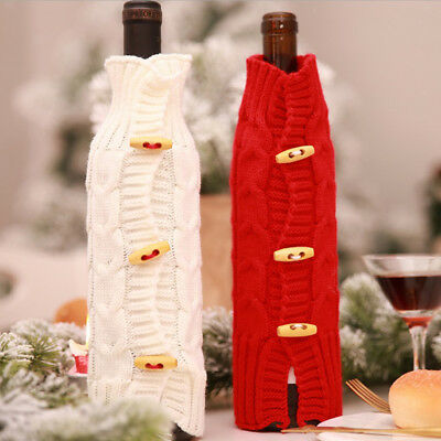 Lovely Christmas Knitted Clothes Wine Bottle Bag Cover Table Home Decoration