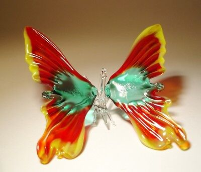 Blown Glass Art Figurine Red and Green Hanging BUTTERFLY Ornament