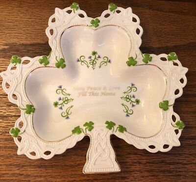 Lenox Shamrock Sentiments Ireland Irish Porcelain Clover Celtic Shallow Dish