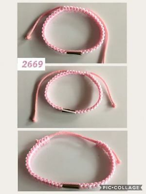 "Thai blessed Buddhist Wristband Nylon10""Pink, White and Takrud"