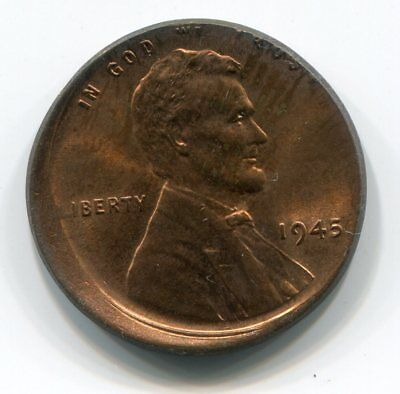 1c 1945 STRUCK 10% OFF CENTER - ORIGINAL AND MOSTLY RED!