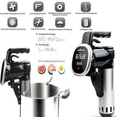 Quiet 850W Sous Vide Immersion Circulator Precision Cooker Machine LED Display
