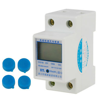 220V 5(80)A Digital 1-phase 2 Wire 2P DIN-Rail Energy Meter Electronic KWh Meter