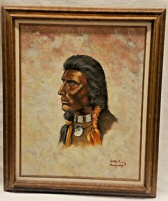 """Gary Montgomery Large Painting American Indian Man On Canvas Wall Art 31""""X37"""""""