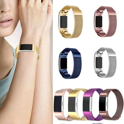 For FitBit Charge 2 Metal Stainless Milanese Magnetic Loop Replaced Band Strap E