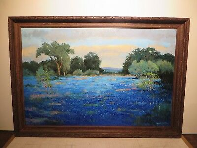 "26x40 org. 2015 oil painting by Hardy Martin of ""Hill Country with Bluebonnets"""