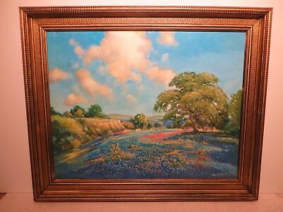 """22x28 org. 2015 oil painting by Hardy Martin of """"Hill Country with Indian Brush"""""""