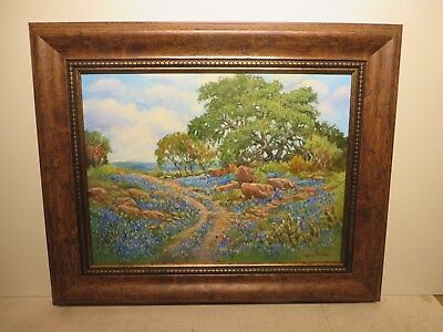 "18x24 org. 2015 oil painting by Hardy Martin of ""Rocky Trail of Tx. Bluebonnets"""
