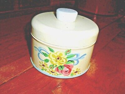 Vintage Floral Ransburg Talcum container with puff 1950s