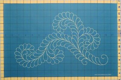 Quilting Full Line Stencil FANCY FEATHER II Reusable for Quilts use Pounce A3...