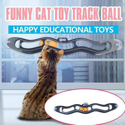 Cat Toys Interactive Track Ball Cat Window Suction Cup Track Ball Pet Accessory