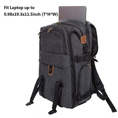 Large Camera Backpack 21 inch Canvas DSLR Camera Bag with Rain Cover,15.6 Laptop