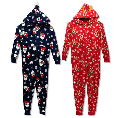 Boys Girls Christmas Cosy All In One Suit Unisex Hooded Costume Sleep Wear