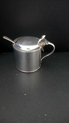 Solid Silver Mustard pot with blue glass liner and spoon