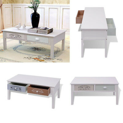 Shabby Chic French Coffee Table Wood 2 Drawers Couch Side End Table Rectangle UK