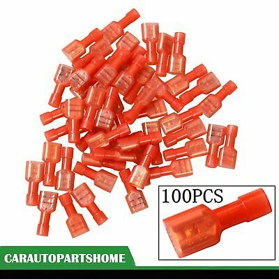 """Red 100x 1/4"""" Fully Insulated Female Electrical Spade Crimp Connector Terminals"""