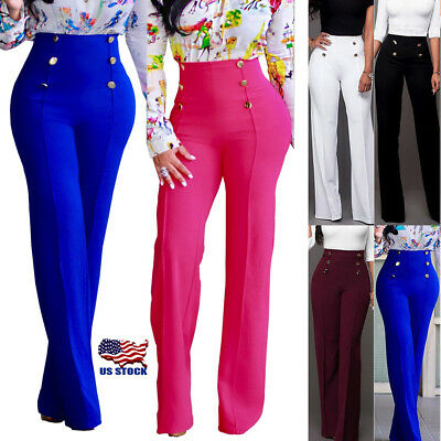 Women Palazzo High Waist Flared Wide Leg OL Ladies Button Long Trousers Pants US