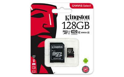 Genuine Kingston Canvas Select 128GB Micro SD SDXC card 80MB/s, Class 10