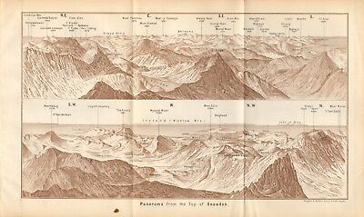 1890 - Antique Map - Wales - Panorama From The Top Of Snowdon