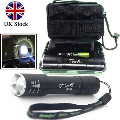 UK Tactical 20000LM T6 LED Flashlight Zoomable Torch Lamp+18650+Charger+Case Set
