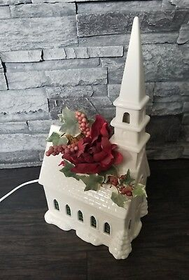 Vtg White Ceramic Christmas Musical Light Up Church Large Plays Amazing Grace