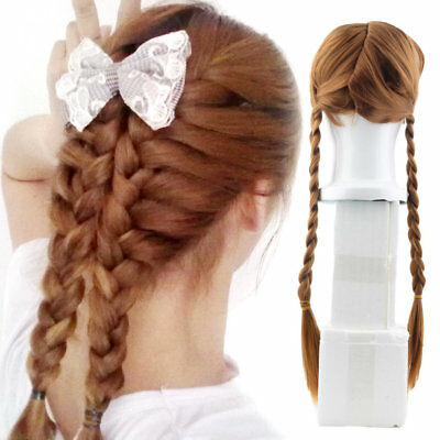 Anime Braids Design Ice Snow Queen Brown Cosplay Long Party Wig AZ