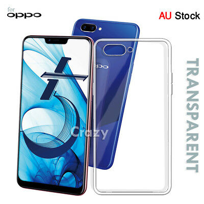 For Oppo AX5 A3S Soft Gel Clear Transparent TPU Flexible Case Cover + Protector