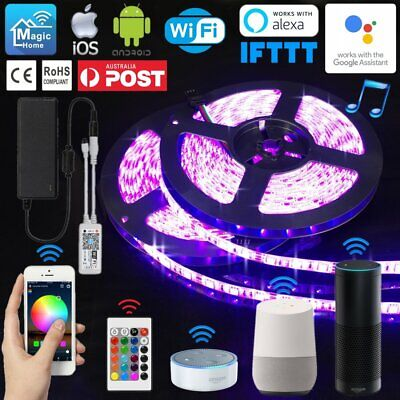 1M-10M 5050 RGB LED Waterproof Flexible Light Strip Mini Wifi Controller Adapter