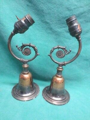 Matching Pair of vtg/antique japanned Copper Flash wall sconces Sconce