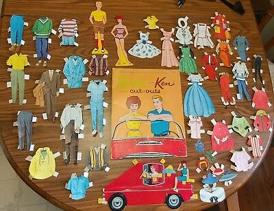 VINTAGE 1960s PAPER DOLLS BARBIE KEN 1962 WHITMAN ORIGINAL FOLDER - 41 PIECES!