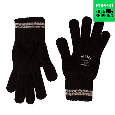 DIESEL Knitted Gloves Branded Contrast Ribbed NUATYL 00J10P